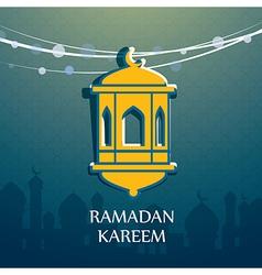 ramadan kareem hanging arabic lamp vector image