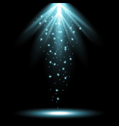 Rays of light from above aqua color vector