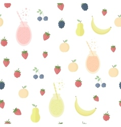 Seamless background with juice and fruits vector image