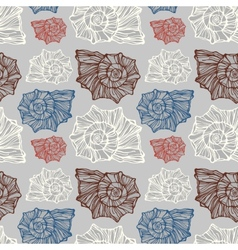 Seamless pattern with decorative seashells vector