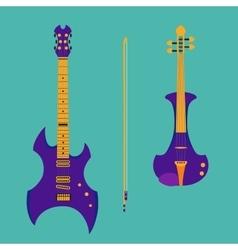 Set of string instruments Purple electric violin vector image vector image