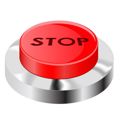 stop button red push icon with chrome frame vector image