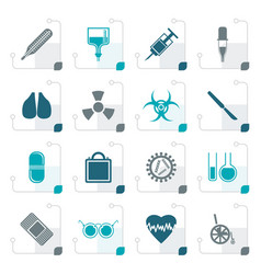 Stylized collection of medical themed icons vector