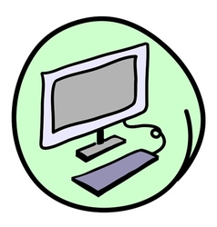 The Computer Workstation on Round Green Background vector image