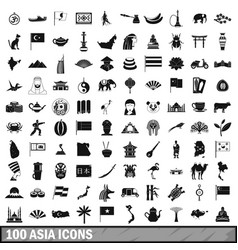 100 asia icons set simple style vector