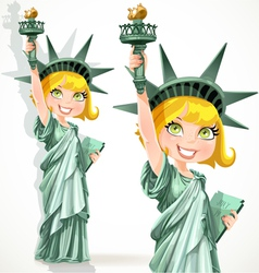Blonde girl dressed as the statue of liberty vector
