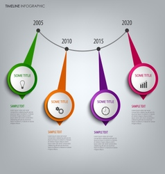 Time line info graphic with round abstract design vector