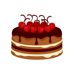 Chocolate cake torte with cherry topping vector