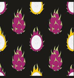 Dragon fruit seamless pattern on a black vector