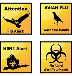 Avian flu alerts icons vector
