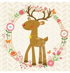 Cute dear in floral wreath vector