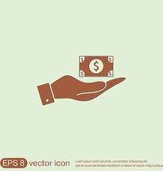 Hand holding a dollar bill symbol of money vector