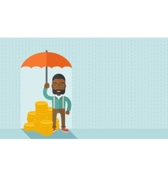African-american businessman with umbrella as vector