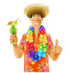 man cocktail hawaii wreath hat vector image