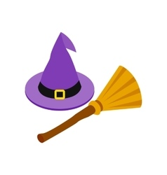 Witch hat and broom isometric 3d icon vector