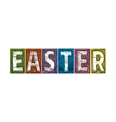 Easter letterpress textured blocks vector