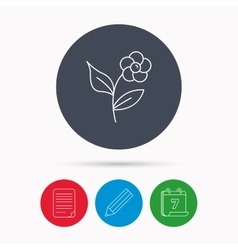 Flower with petals icon plant and leaves sign vector