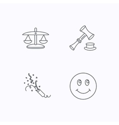 Scales of justice auction hammer and slapstick vector