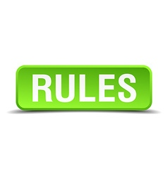 Rules green 3d realistic square isolated button vector