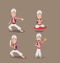 Aladdin persian character cartoon set vector