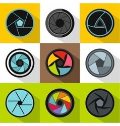 Aperture icons set flat style vector