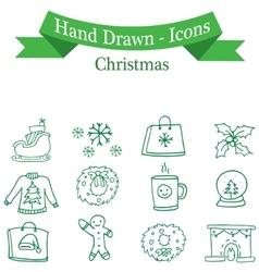 Art of christmas icon set vector