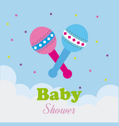 Baby shower design over cloudscape background vector