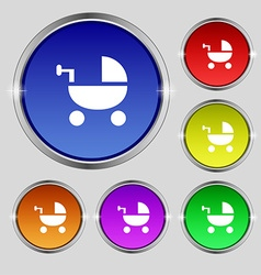 Baby stroller icon sign round symbol on bright vector