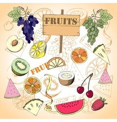 Background with fruit1-08 vector image vector image