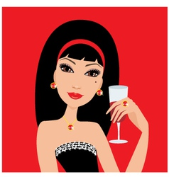 beautiful woman with a wine glass vector image