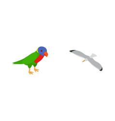 Birds icon set isometric style vector