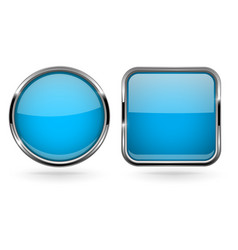 blue buttons set of round and square shiny 3d vector image