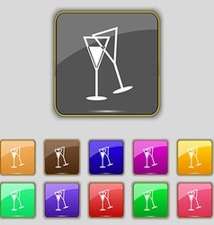 champagne glass icon sign Set with eleven colored vector image