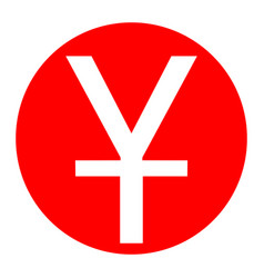 Chinese yuan sign white icon in red vector