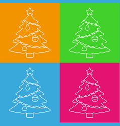 christmas tree with star line icons vector image vector image