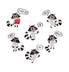 Cute raccoon character showing different emotions vector