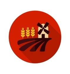Field with a mill and wheat flat icon vector