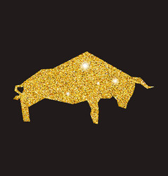 Golden bull silhouette golden bull silhouette vector