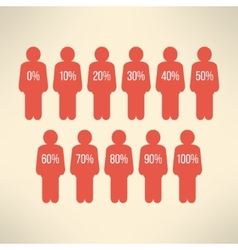 Human symbol with percent business infographic vector