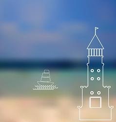 lighthouse sailboat island ocean on seascape vector image vector image
