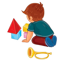 Little boy sitting on the floor and playing vector