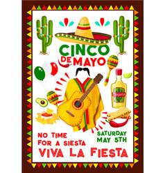 Mexican poster for cinco de mayo holiday vector