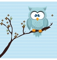 owl blue tree leaves blue vector image
