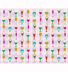 Pattern of wine glasses vector