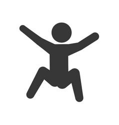 Pictogram man silhouette doing exercise vector