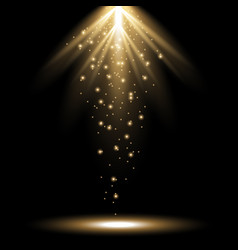 Rays of light from above golden color vector