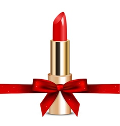 Red lipstick with ribbon vector
