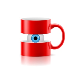 Red mug of two parts with an eye inside vector image vector image