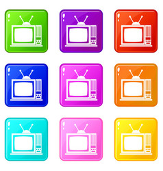 Retro tv icons 9 set vector