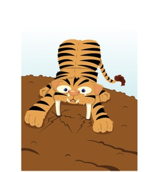Sabertooth Tiger extinguishment vector image